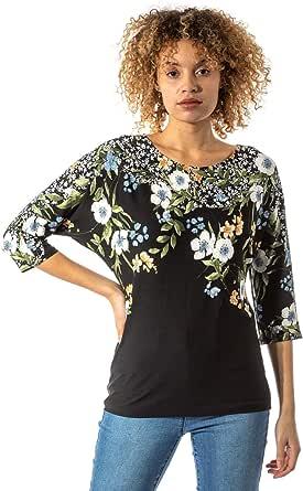 Roman Originals blusa para mujer, con estampado floral, cuello redondo, manga 3/4, cuello de bote, para uso diario, casual, para trabajo