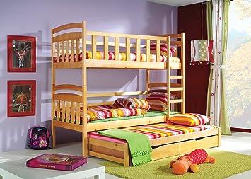 Drei Etagenbett : Etagenbett hochbett kacper kiefer fur drei kinder amazon