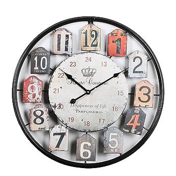 Mecotech 50CM Reloj Pared Grande Vintage Metal Silencioso Creativo Reloj de Pared para Cocina: Amazon.es: Hogar