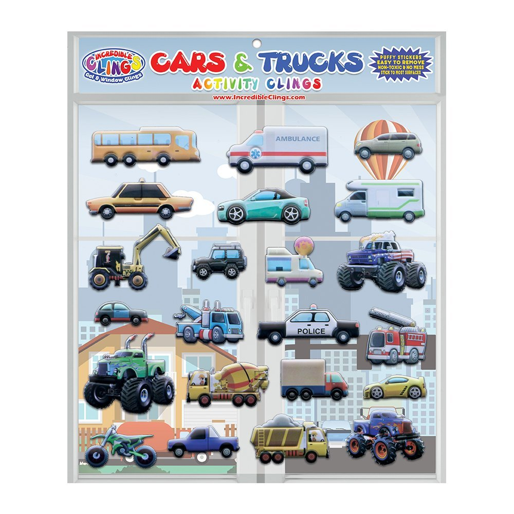 Cars & Trucks Foam Window Clings for Kids (by Incredible Gel and Window Clings)- Reble and Removable Puffy Stickers -Police and Race Cars, Monster, Tow and Fire Trucks, and More Incredible Clings LLC