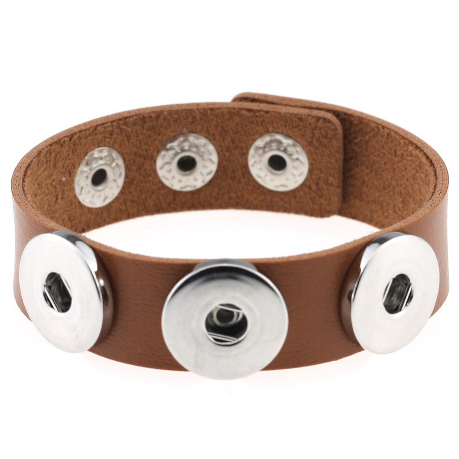 fashion DIY button bracelet PU leather noosa snap button bracelet bracelet manufacturers wholesale,Light brown