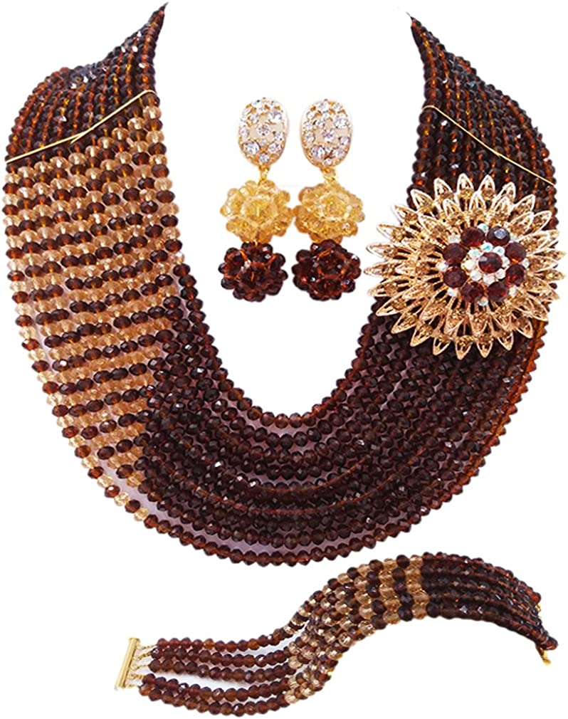 laanc 10 Rows Nigerian Wedding Crystal Jewelry Beads OFFicial store San Francisco Mall African Set