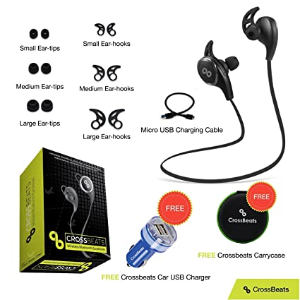70d6c5425e6 CrossBeats V4.1 Bluetooth Headset with Mic and Apt X(Black): Amazon.in:  Electronics
