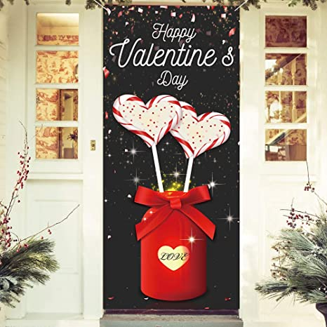 Valentines Day Backdrop Valentine Banner Large Fabric Love Backdrop Decor Holiday Decorations Background Banner Valentines day Party Decorations Supplies
