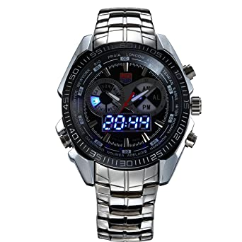 HWCOO Watches TVG Brand Luxury Stainless Steel Clock Digital Sports LED Watch Men 30M Dual Movements