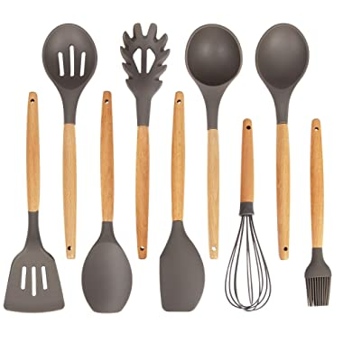 K Kwokker Kitchen Utensil Set Silicone Cooking Dinnerware with Wooden Beech Handles Heat-resistant Slotted and Flexible Turner Spatula Slotted Spoon Soup Ladle Serving Spoons Whisk Basting Br