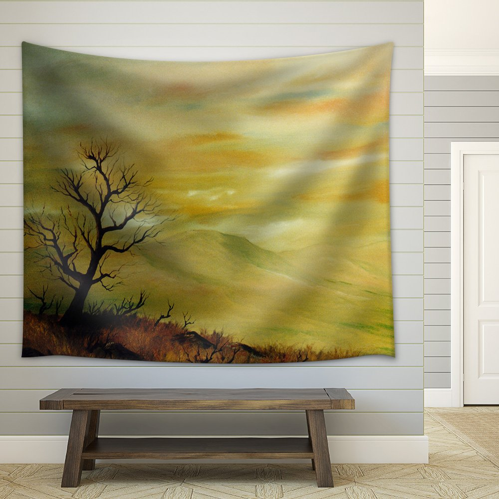 Very Nice Original Landscape Oil Painting Fabric Wall Tapestry ...
