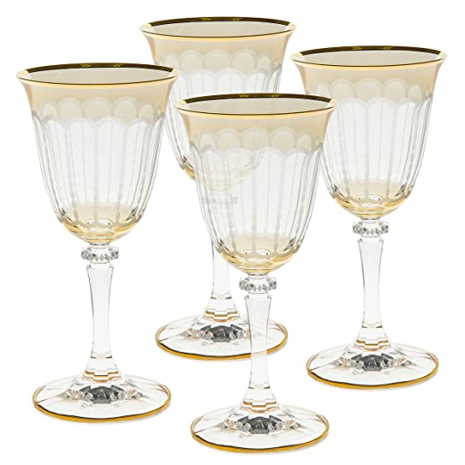 Christmas Tablescape Decor - Gold Fine Italian decorative amber wine or champagne 4-pc. stemware set