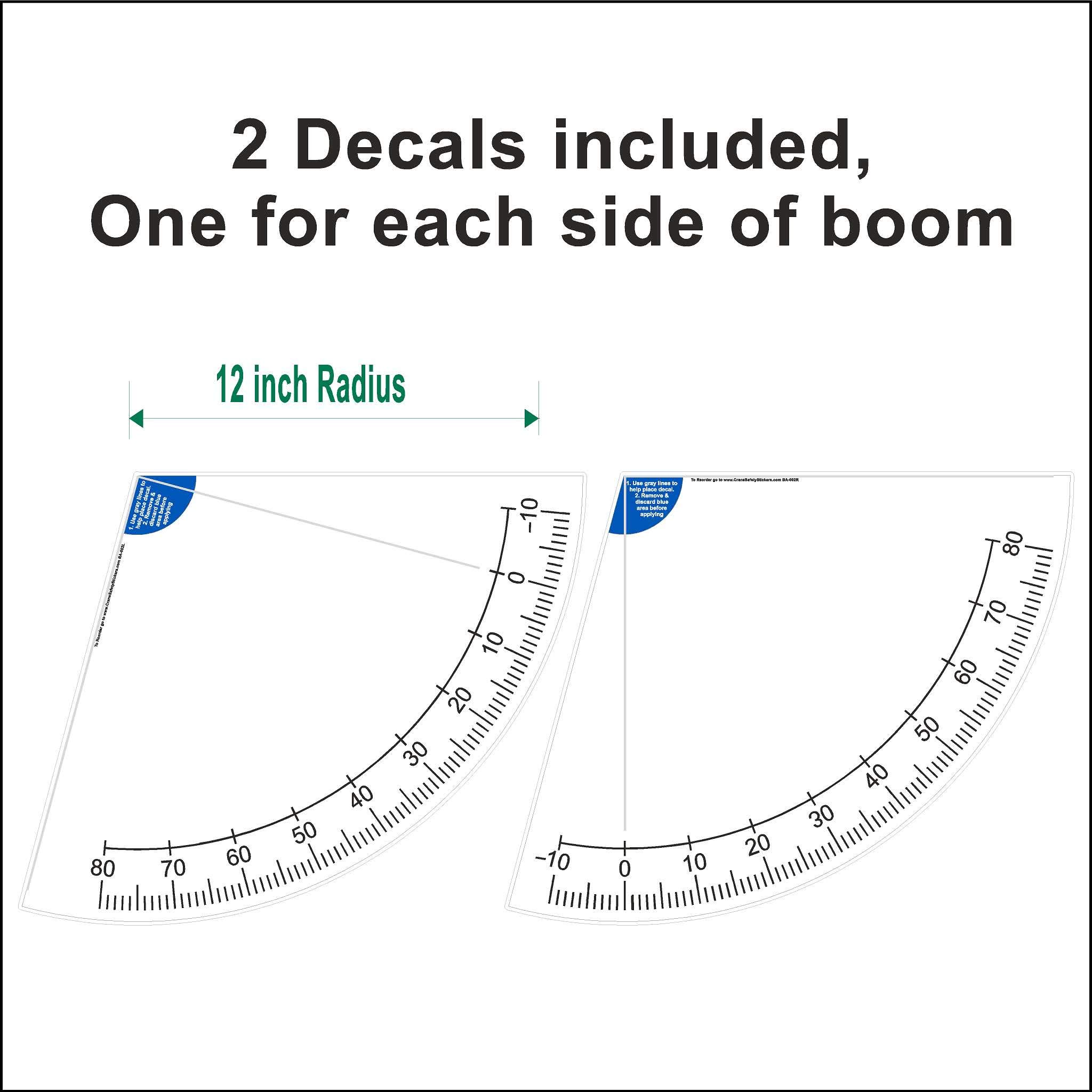 Crane Boom Angle Indicator Decal Kit (12'') by Sticky Paper Designs