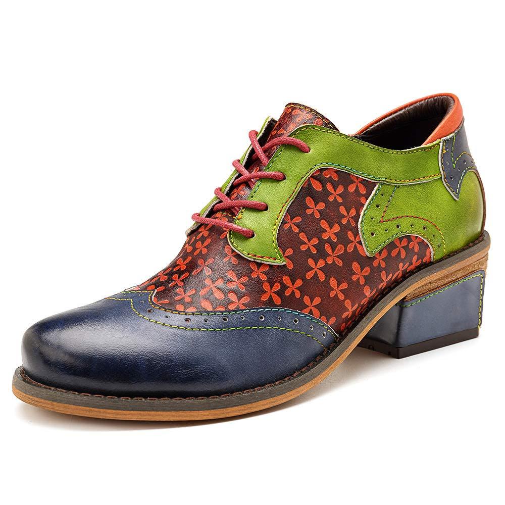 Imzoeyff Damen Oxford Stiefel, lässig böhmischen Print Derby handgefertigte Lederstiefel Zipper Schuhe Kleid Hochzeit Stiefel