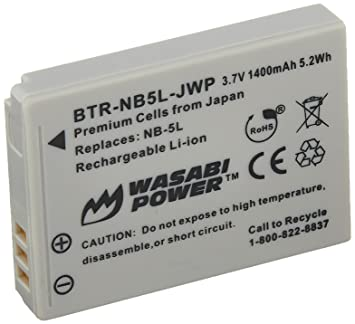 Amazon wasabi power battery for canon nb 5l and canon wasabi power battery for canon nb 5l and canon powershot s100 s110 sd700 sciox Images