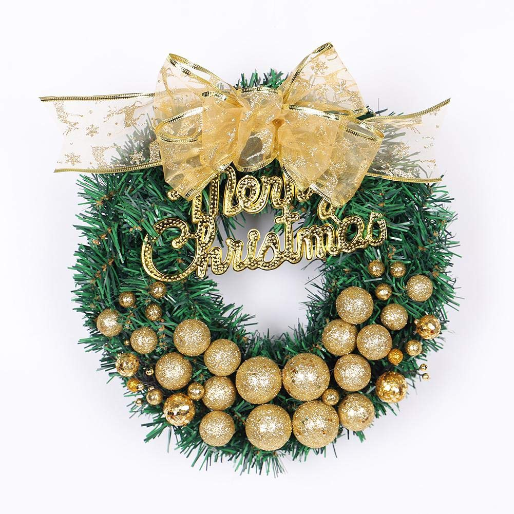 12'' Christmas Wreath with Gold Ball Christmas Tree Decoration Suitable for Home Window Shopping Mall Hotel Decoration PendantWreath Holiday Supplies