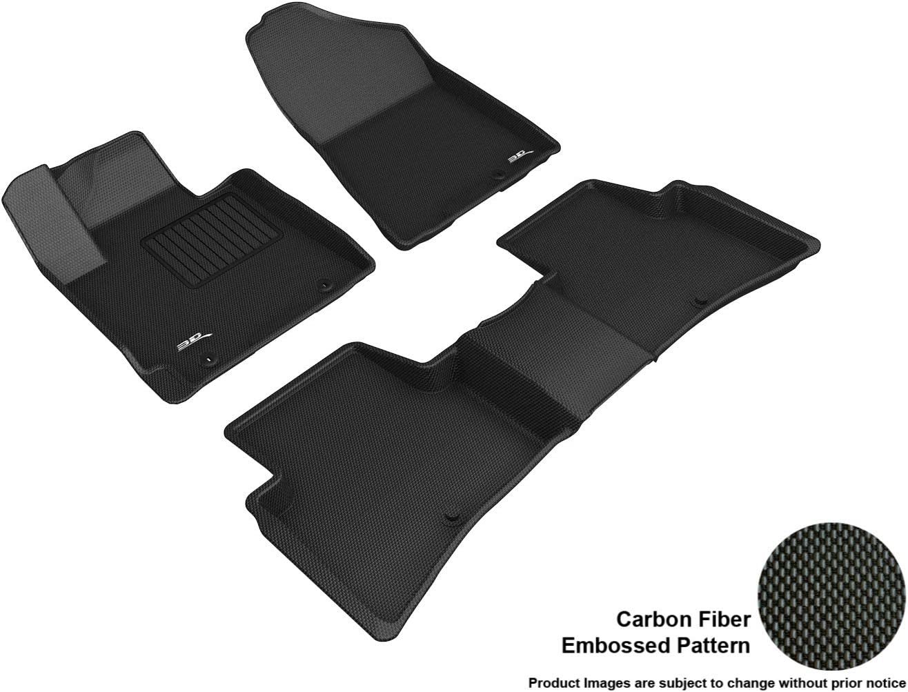 3D MAXpider L1HY09801509 Complete Set Custom Fit All-Weather Kagu Series Floor Mats in Black for Select Hyundai Tucson