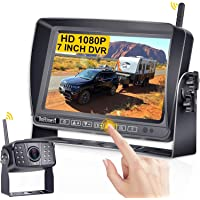DoHonest S21 HD 1080P Digital Wireless Backup Camera Kit 7 Inch Touch Key DVR Monitor Split Screen Highway Rear View…