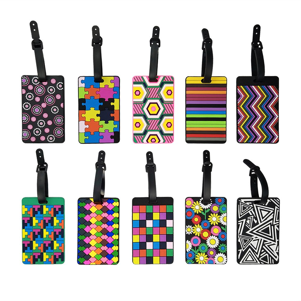 10 Pack Assorted Geometric Luggage Tags Travel Suitcase Labels Business ID Holder for Travel