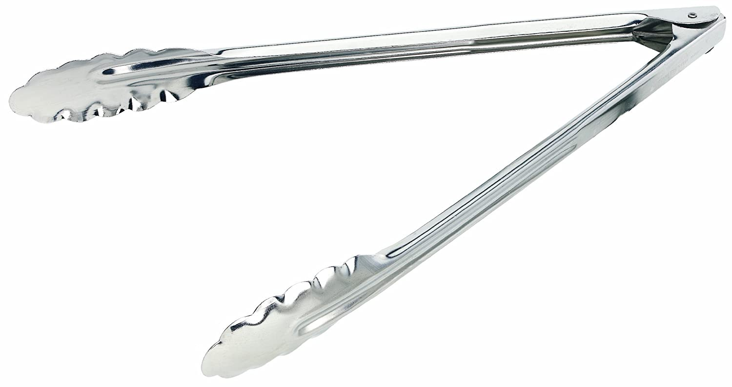 1 Silver Crestware Commercial Kitchen Crestware HDT12X 12-Inch Extra Heavy Duty Tong