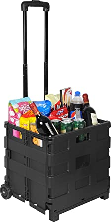 Carro de la compra plegable carro Shopping Trolley plegable caja Carrito de transporte Caja con tapa plegable de hasta 25 kg negro de color rojo ew4804sz: Amazon.es: Hogar