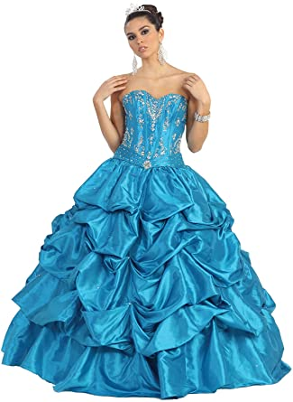 a837354c5a5 May Queen MQ744 Quinceanera   Sweet 16 Ball Gown at Amazon Women s Clothing  store