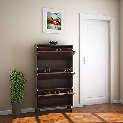 @home by Nilkamal Martin FISRMARTIN3TRSRWLT Shoe Cabinet  Walnut  Shoe Racks