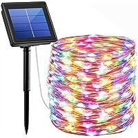 Glückluz Guirnaldas con Luces Solares Decorativas 22M 200 LED 8 Modos 3 Hilos de Alambre de Cobre IP65 Impermeable…