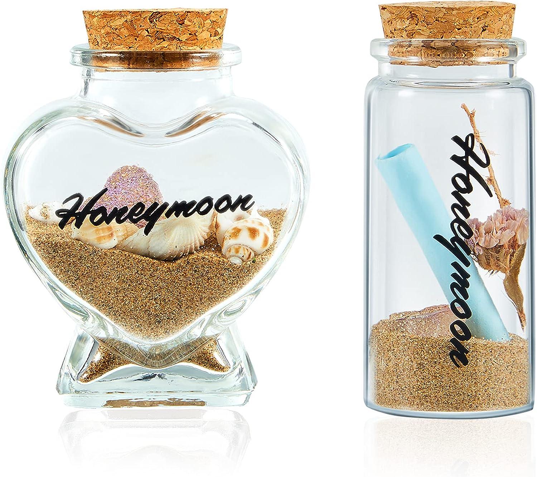 2 Pieces Honeymoon Sand Keepsake Jars Heart Shaped Cylindrical Style Sand Bottle Decors Handwritten Honeymoon Sand Jars Cork Stopper Clear Glass Bottles for Newlywed Couple Wedding Honeymoon Souvenir