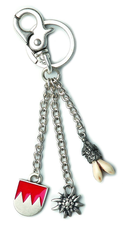 Charivari Anhänger, Schlüsselanhänger mit fränkischen Rechen, Edelweiß und echten Hauern! Trachtenschmuck in Silber