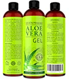BEST Aloe Vera Gel - 99% Organic - NO XANTHAN, Absorbs Rapidly, No Residue - USA made - Unique Formula with Natural SEAWEED. Best Moisturizer for Face, Skin & Hair