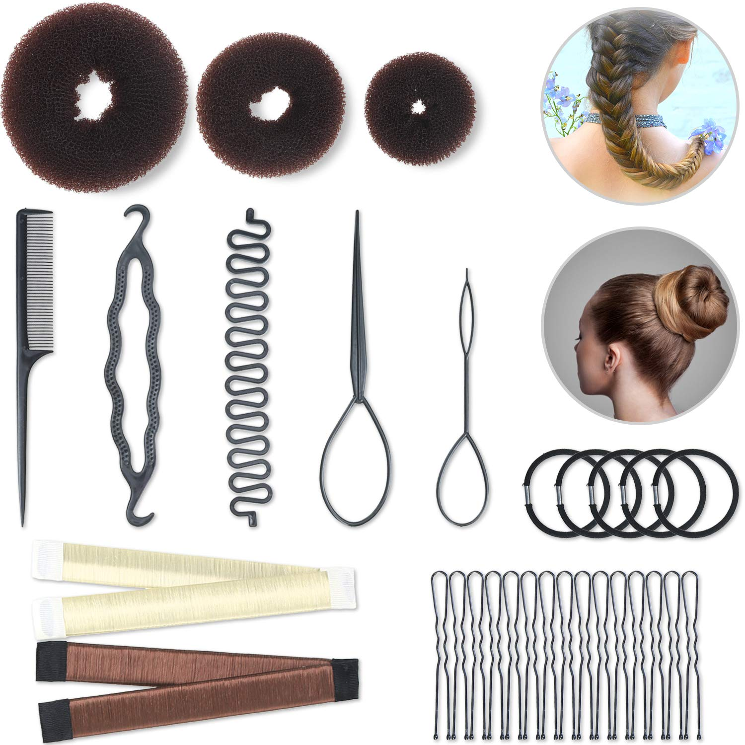 Hair Styling Set Hair Braid Tool 3 Pieces Donut Hair Bun Tool 2 Pieces French Magic Twist Hairstyle Clip Rollers 15 Pieces U-shaped Hair Pins 5 Pieces Hair Ropes for Women Girls: Beauty