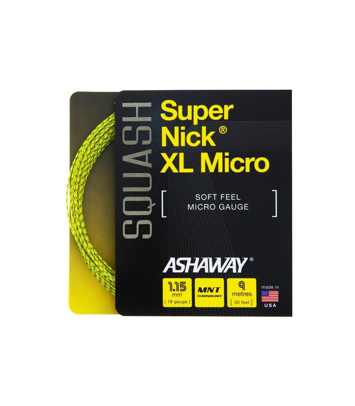 Ashaway SuperNick XL Micro Squash String Set - Yellow - 18/1.15mm by Ashaway