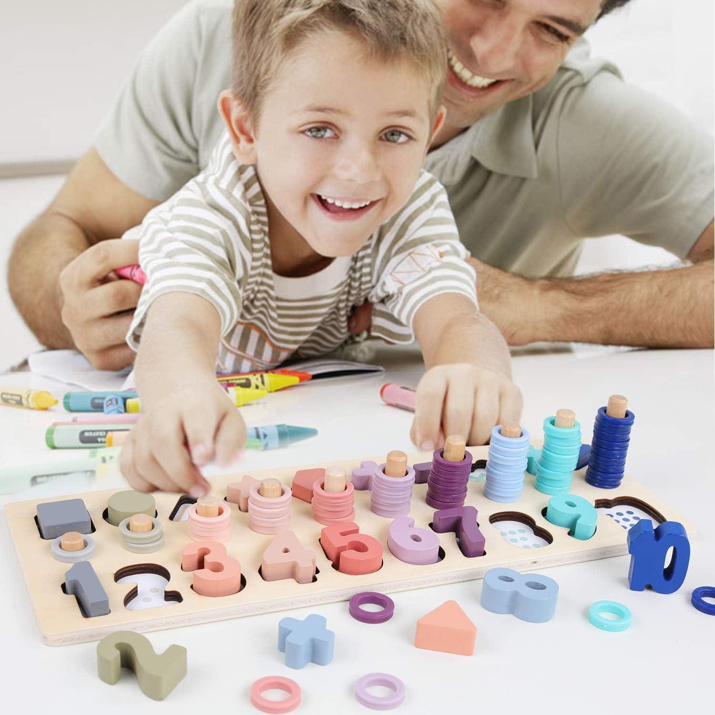 Wooden Preschool Learning Toy Rings Montessori Math Counting Board Preschool Kid