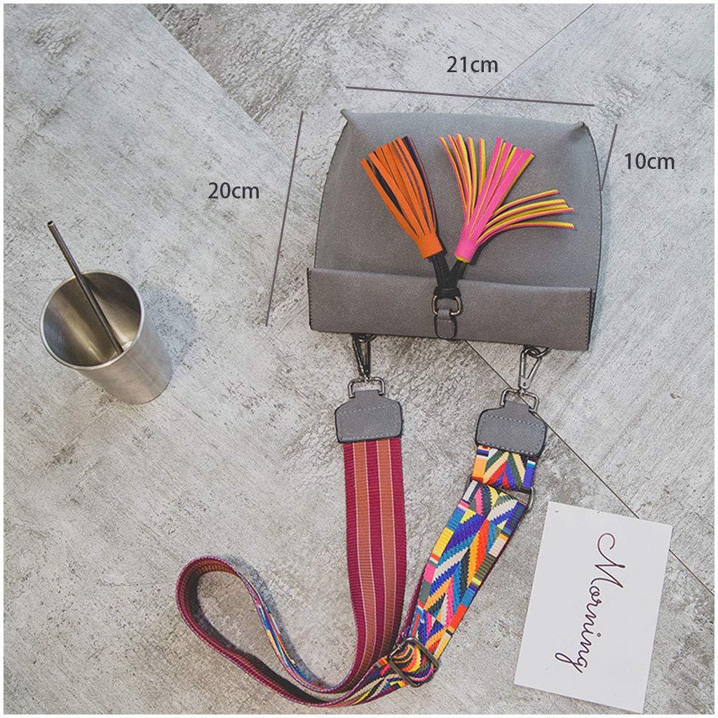 Messenger Bags Adjustable Shoulder Colorful Strap Tassel Bag Handbag for Women Grey