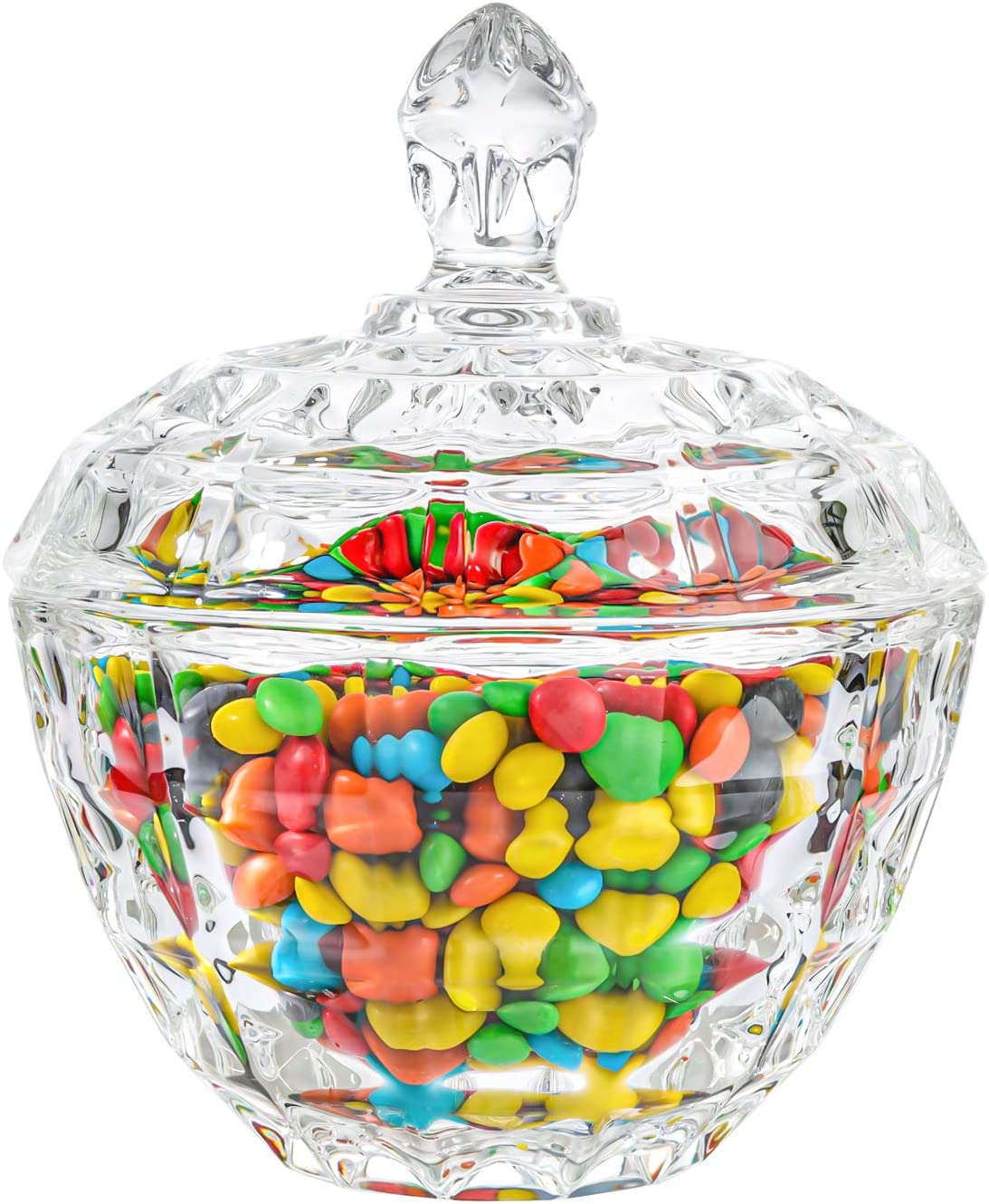 ComSaf Glass Candy Dish with Lid Decorative Candy Bowl, Crystal Covered Candy Jar for Home Office Desk, Set of 1 (Diameter:4.5 Inch)