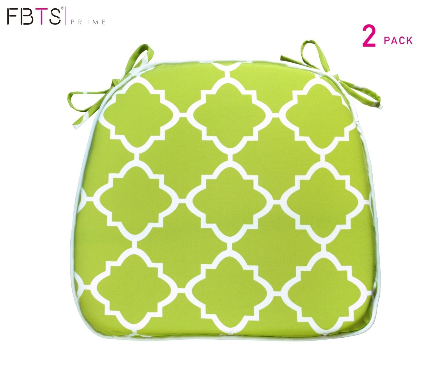 FBTS Prime Outdoor Chair Cushions (Set of 2) 16x17 Inches Patio Seat Cushions Light Green Square Chair Pads for Outdoor Patio Furniture Garden Home Office