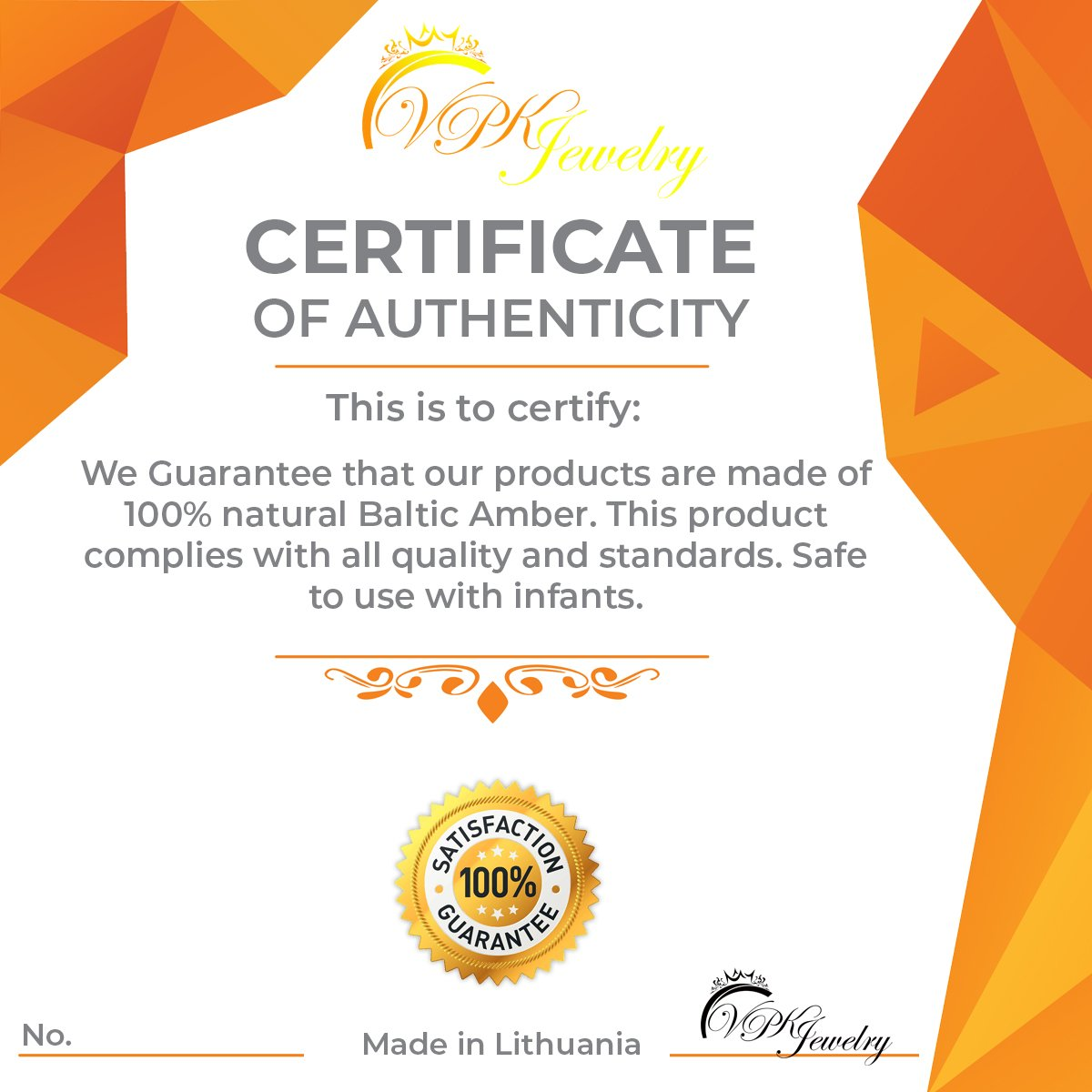 VPKJewelry Amber Teething Oval Bracelet Babies Anti Inflammatory Drooling Pain Reduce Cognac Honey Unisex Baltic ASMS00AMBHO