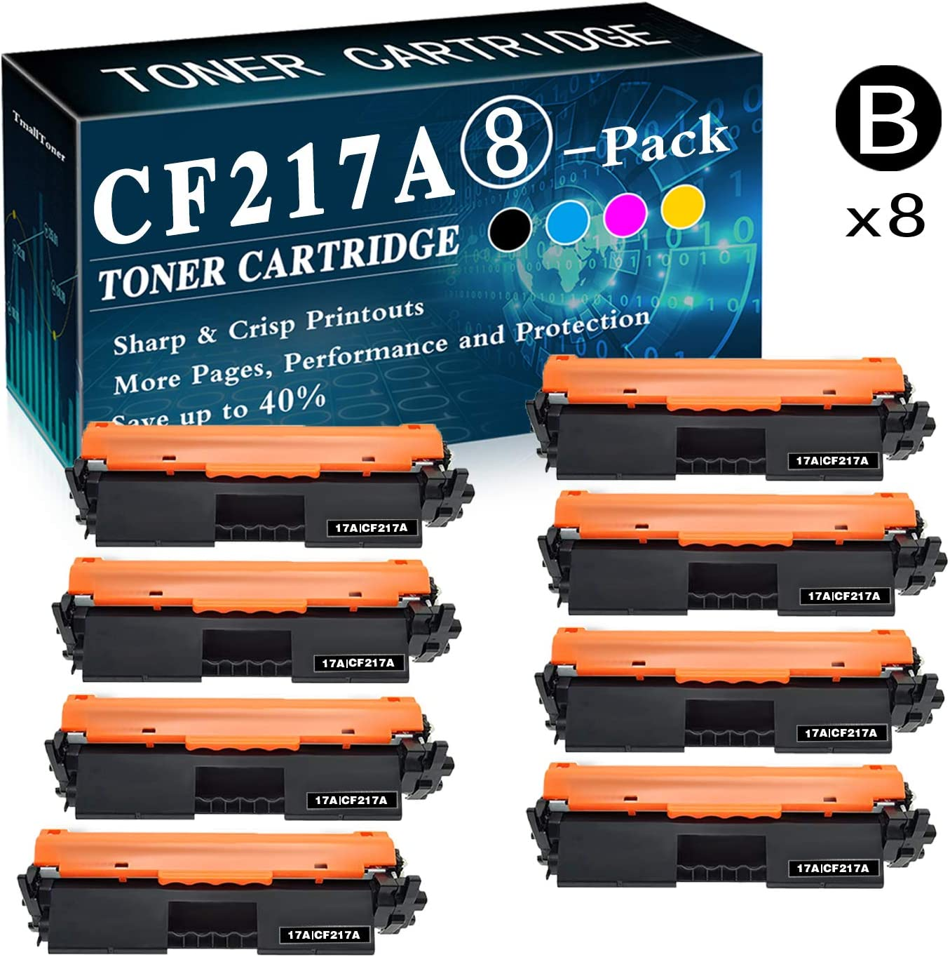 CF217A Toner Cartridge Replacement for HP Laserjet M130a M130nw M130fn M130fw M102a M102w Printer Printer,by TmallToner 8-Pack 17A