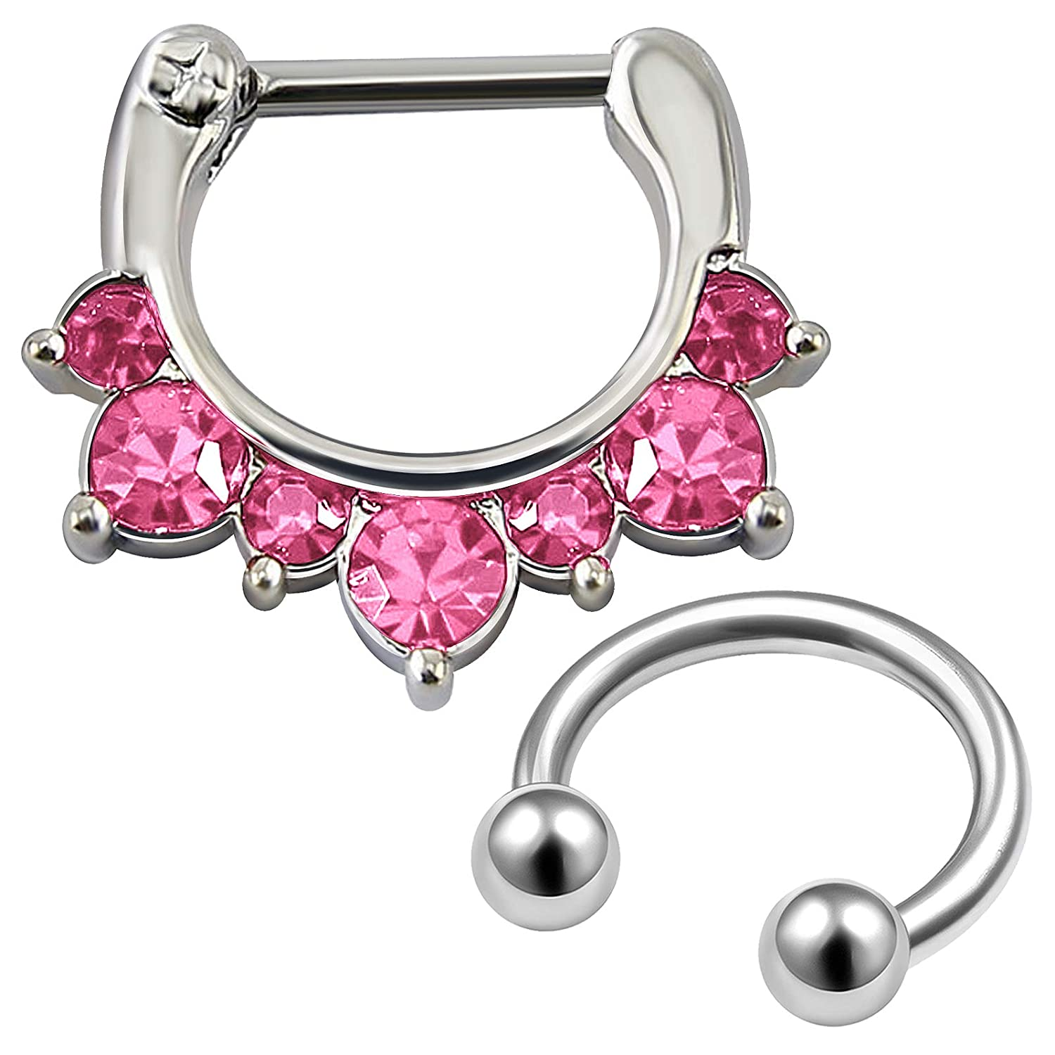 MATIGA 2Pcs Steel 16g Septum Nose Hoop Horseshoe Piercing Jewelry Helix Tragus Cartilage Eyebrow Rook Crystal 3mm Ball More Choices