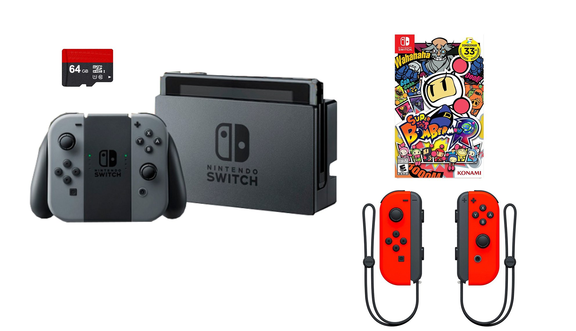 Nintendo Switch 4 items Bundle:Nintendo Switch 32GB Console Gray Joy-con,64GB Micro SD Memory Card and an Extra Pair of Nintendo Joy-Con (L/R) Wireless Controllers Neon Red,Super Bomberman R