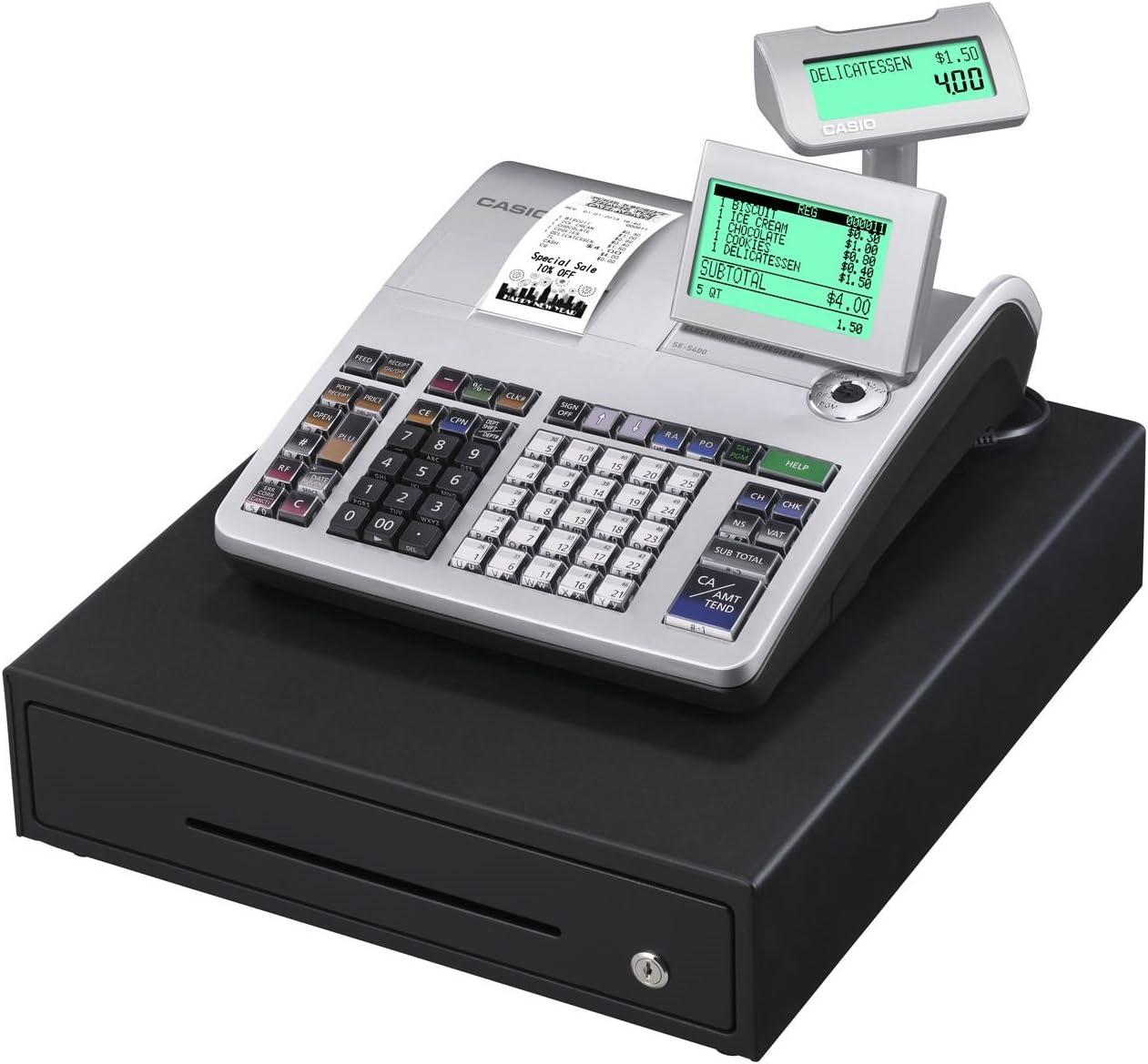 Casio SE-S400MB-SR GDPdU - Caja registradora (10 líneas en pantalla), color plateado y negro
