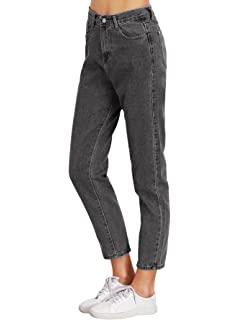 a40104d1525c SweatyRocks Women s Juniors Boyfriend Jean High Waist Capri Cropped Denim  Jeans