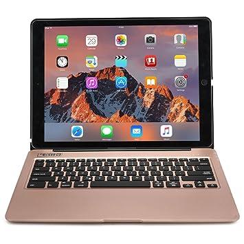Funda con Teclado iPad Pro 12.9, Cooper Kai SKEL A1 Carcasa de Aluminio, Teclado inalámbrico Bluetooth retroiluminado Macbook, batería Recargable ...