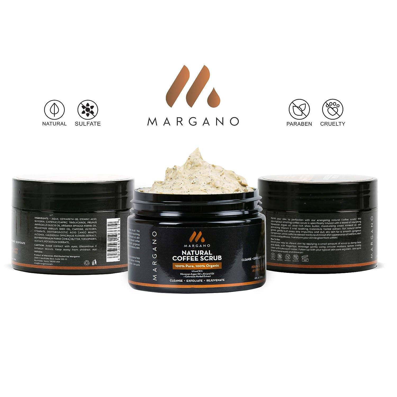 Natural Coffee Face & Body Scrub. W/Moroccan Argan Oil, Calendula,Almond Oil, Shea Butter| Anti Acne, Blackheads, Scars, Stretch Marks. Energizing Gentle Coffee Exfoliant. Face Wash.: Beauty