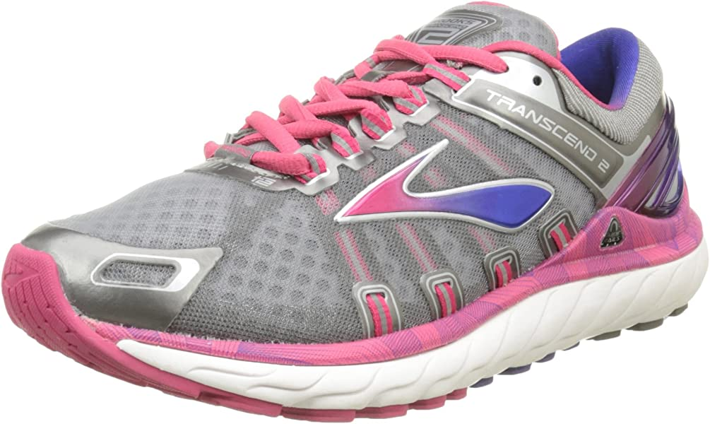 0a8d5158840 Brooks Women s Transcend 2 Metallic Charcoal Raspberry Spectrum Blue  Sneaker 6.5 B (M
