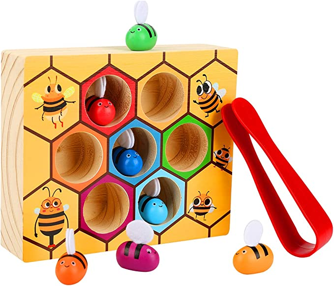 Moonio Wooden Lovely Bee Picking Toy Catching Practices for Baby Early Educational Toddler Montessori Game Colorful Beehive Box