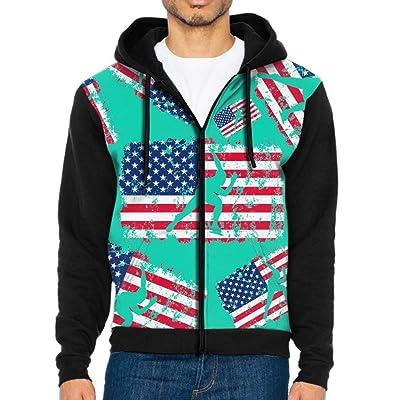 Ujiz Cloth American Flag Short Track Speed Skating Men Full Zip Midweight Sweatshirts Tie-Dye Long Sleeve Pullover Hoodies