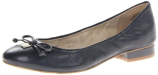 AK Anne Klein Women's Petrica Leather Ballet Flat,NAVY LE ,6 ...