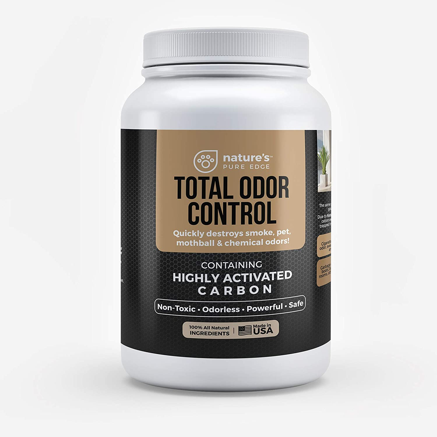 Total Odor Control with 7 Refillable Natural Deodorizing Bags. Fragrance Free Odor Absorber. Closet Freshener, Home Air Odor Eliminating Activated Carbon Charcoal Blend with reusable Bags.