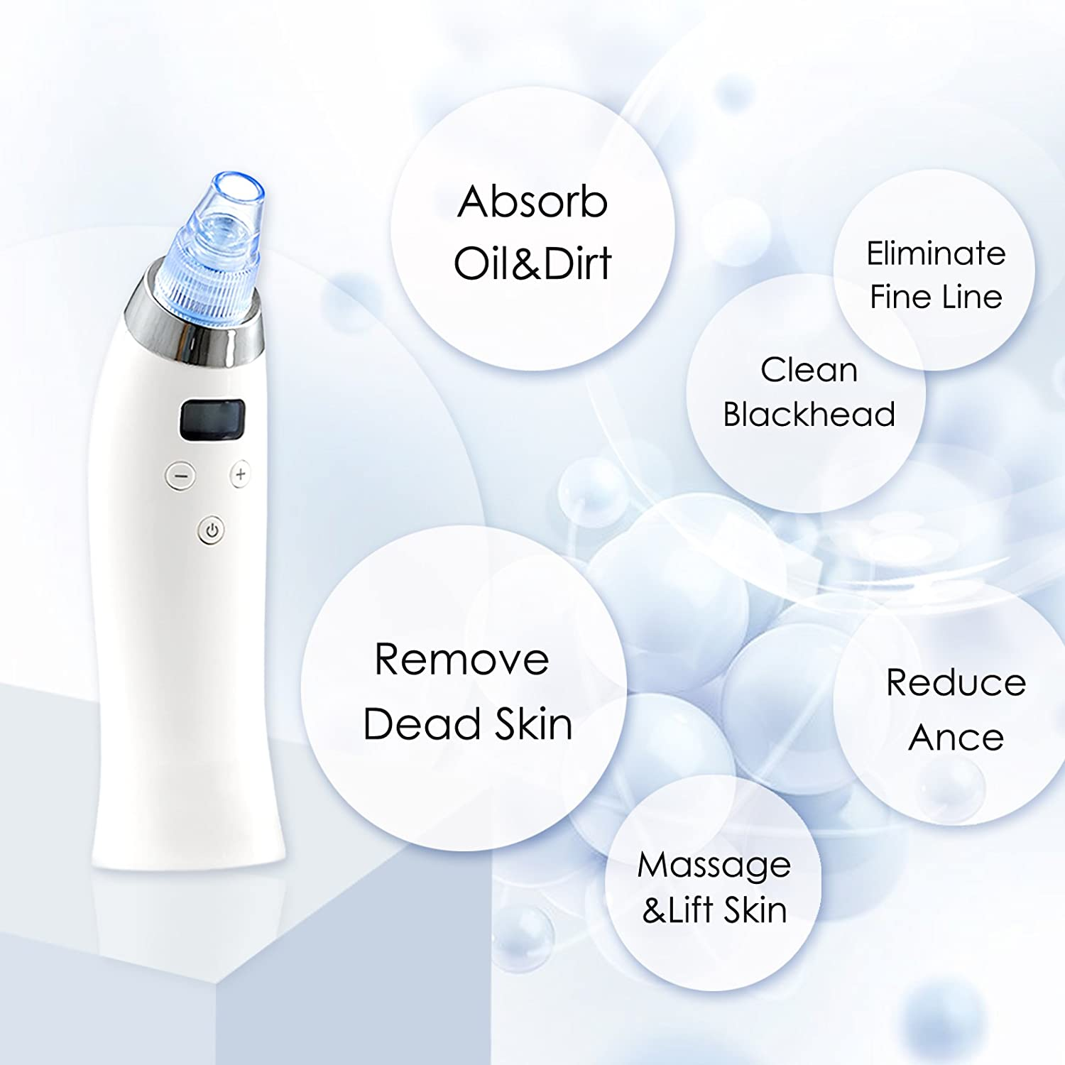 Blackhead Remover Vacuum Facial Pore Cleanser Electric Acne Comedone Extractor Kit USB Rechargeable Blackhead Sucker Tool with LED Display 4 Multi-Functional Suction Probes for Nose Skin