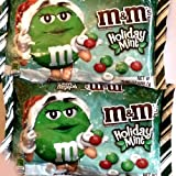 M&M's Mint Chocolate, Christmas Red, Green and White Candies, 9.9oz Bags 2 Pack