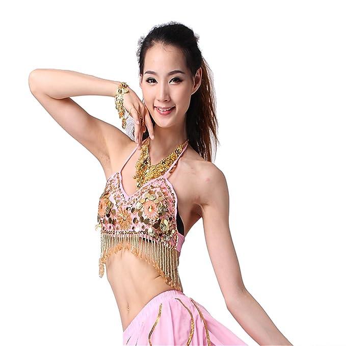 Mujer Disfraz Halter Bra-Top chiles lentejuelas danza del vientre monedas Dancewear