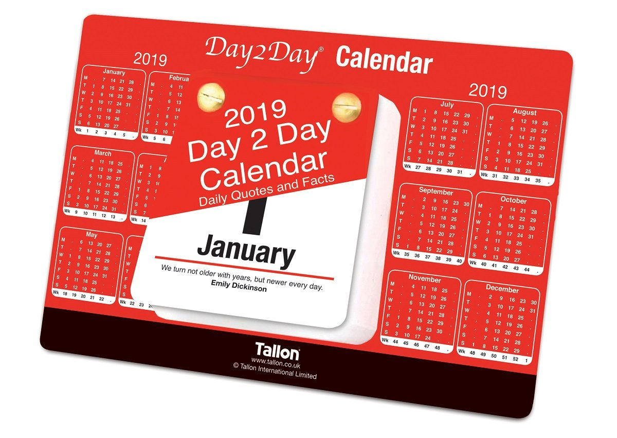 2019 Day To Day Desk Top Stand Up Tear Off Block Calendar - Daily Quotes & Facts Tallon International Ltd 3868